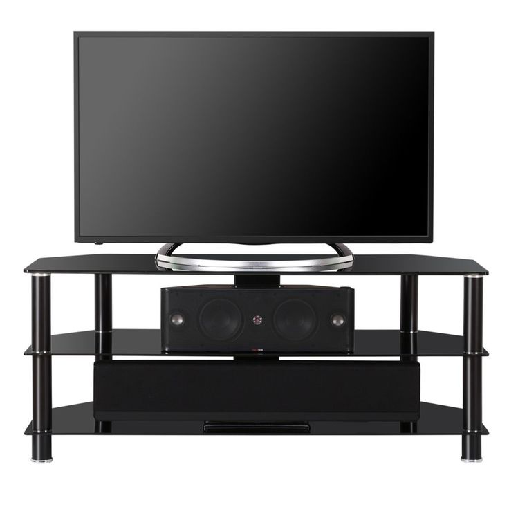 50 Inch Entertainment Center Part - 35: Fenge Glass TV Stand Media Entertainment Center For Up To 50 Inch TV Black  #Fenge