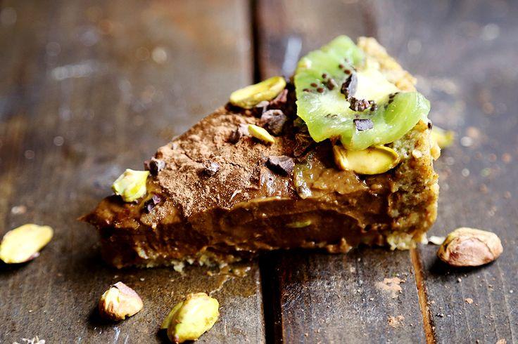 Chocolate Kiwi Pistachio Mousse Cake - Desserts and Snacks, Raw Vegan, Recipes - Divine Healthy Food