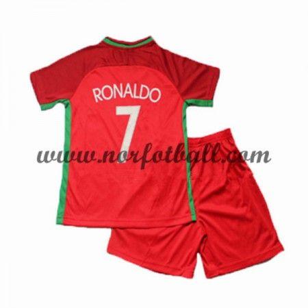 Portugal Fotballdrakter Barn UEFA EURO 2016 Cristiano Ronaldo 7 Kortermet Hjemme Draktsett Fotball