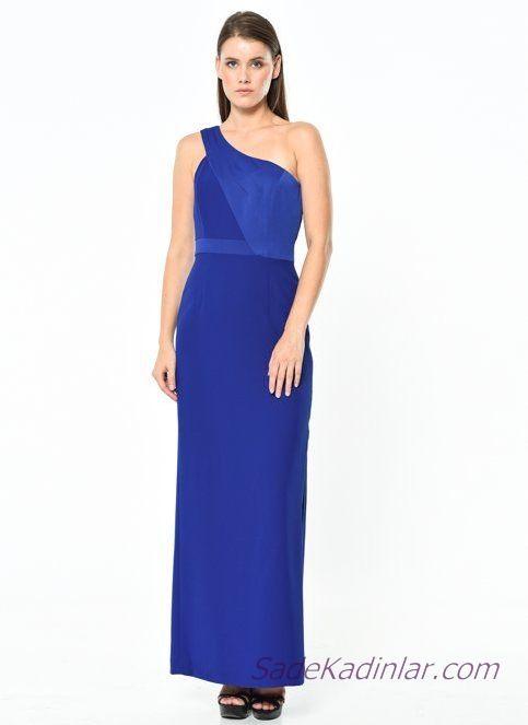 10070f429b07e Koton Abiye Elbise Modelleri Saks Mavi Uzun Tek Omzu Açık Tek Askılı ...
