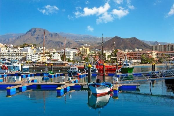 Picturesque Harbour of Los Cristianos Tenerife in the Canary Islands