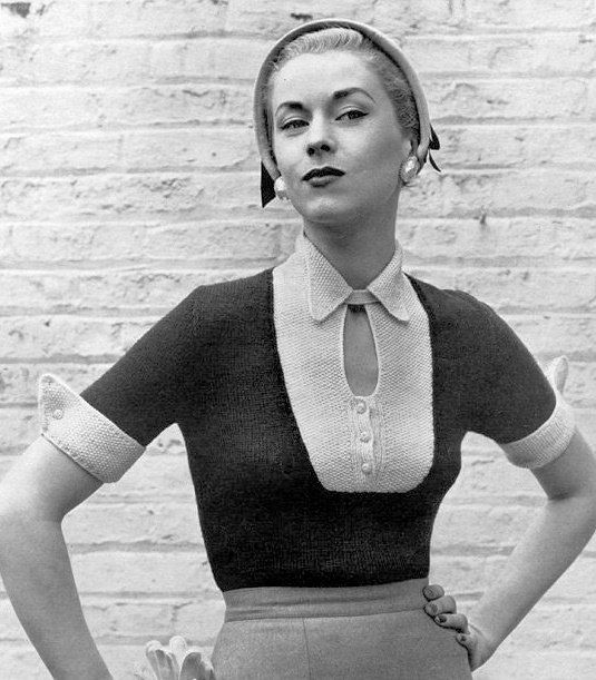1950s Vintage Knitting Pattern for Perky 2 Tone Sweater with keyhole neckline and wing cuffs.