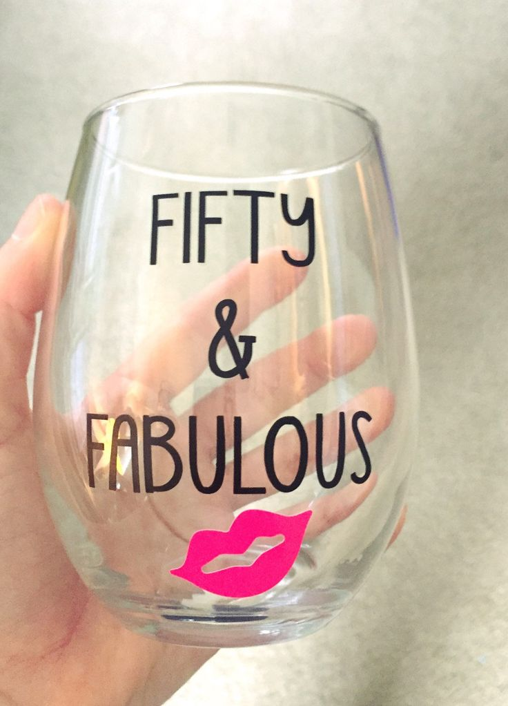 New to DashofFlair on Etsy: Fifty & Fabulous Stemless Wine Glass Fiftieth Birthday Gift 50th Birthday Party (9.99 USD)