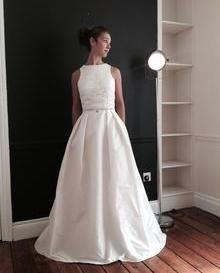 Unique gown 'Sienna' designed & hand made at 'the bridal studio' by Deborah Ann. Using Dawn lace & Ivory Taffeta.