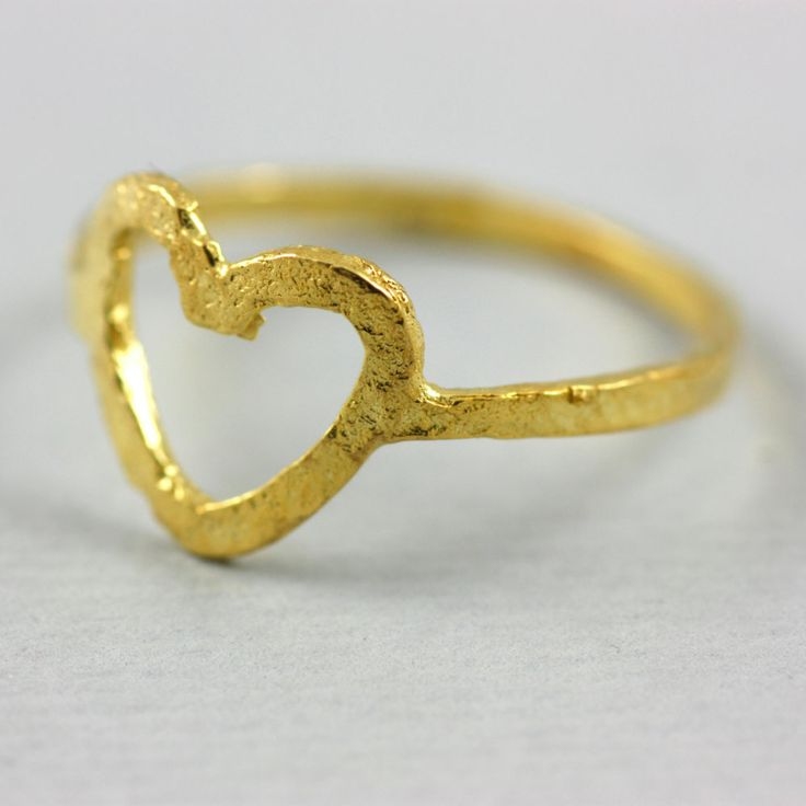 Gold heart ring, gift for her, gold filled ring, love ring, silver ring, valentine's gift, sterling silver by ulalajewels on Etsy