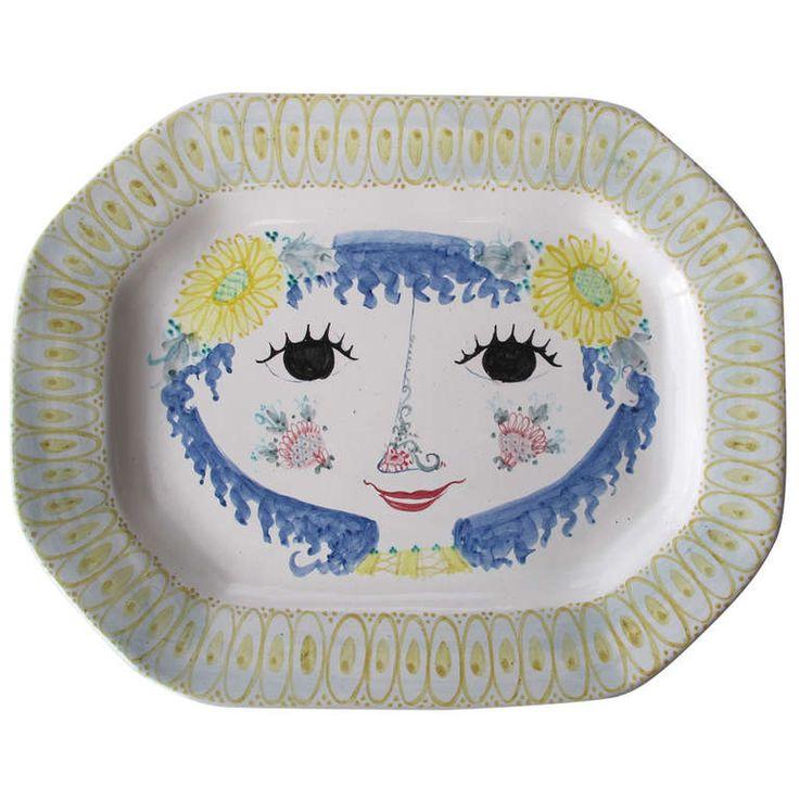 Vintage Scandinavian Ceramic Platter, Early Piece by Bjørn Wiinblad, 1950 |