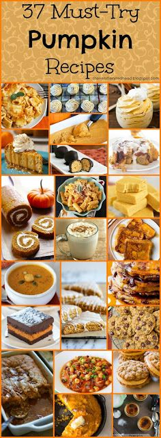 37 must- try Pumpkin Recipes for this fall. The complete list from pumpkin lattes to pumpkin rolls #pumpkin #fall