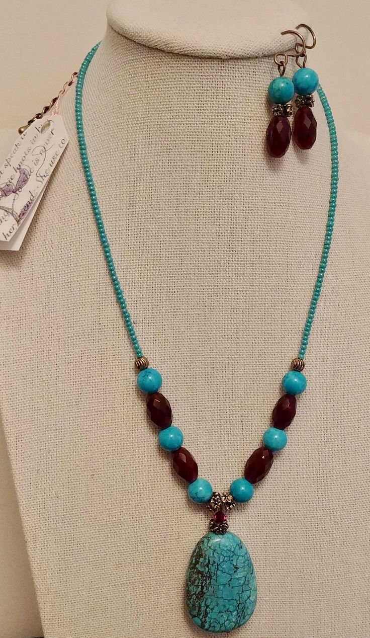 Turquoise and garnet with fine Czech glass.
