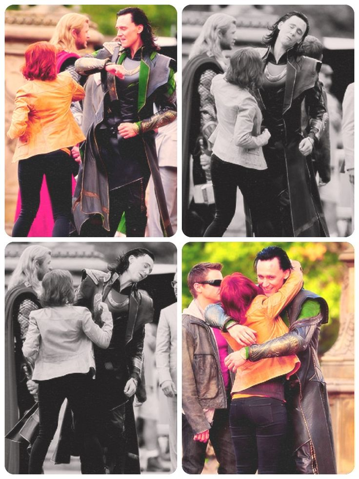 Tom Hiddleston and Scarlett Johansson, trade a few stage punches and a hug.