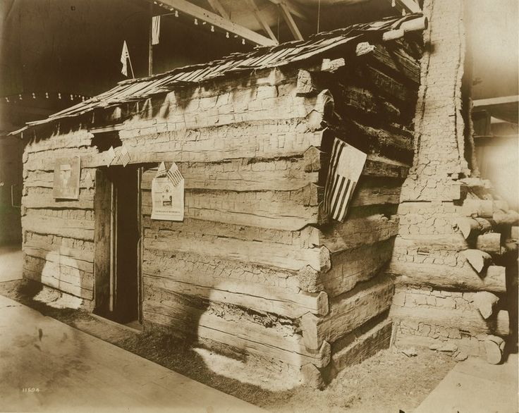 Abraham Lincoln's childhood home (Lincoln log cabin in Lincoln Museum) on display at the 1904 World's Fair.   collections.mohistory.org
