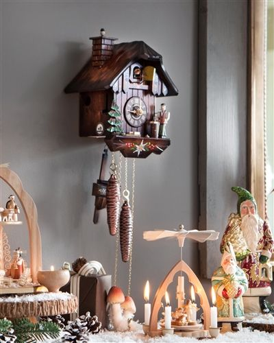 Vintage Christmas Traditional Decorations   German Cuckoo Clock