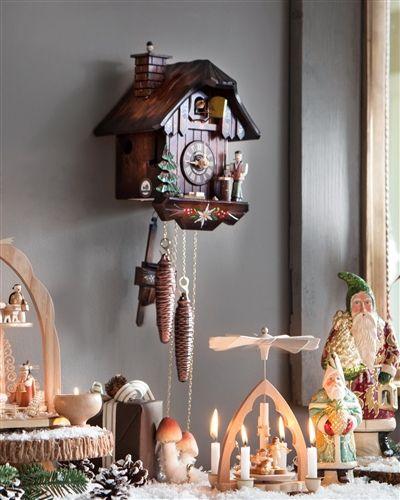 Vintage Christmas Traditional Decorations - German Cuckoo Clock