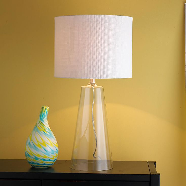 Modern Tapered Clear Glass Table Lamp Clear Glass Table