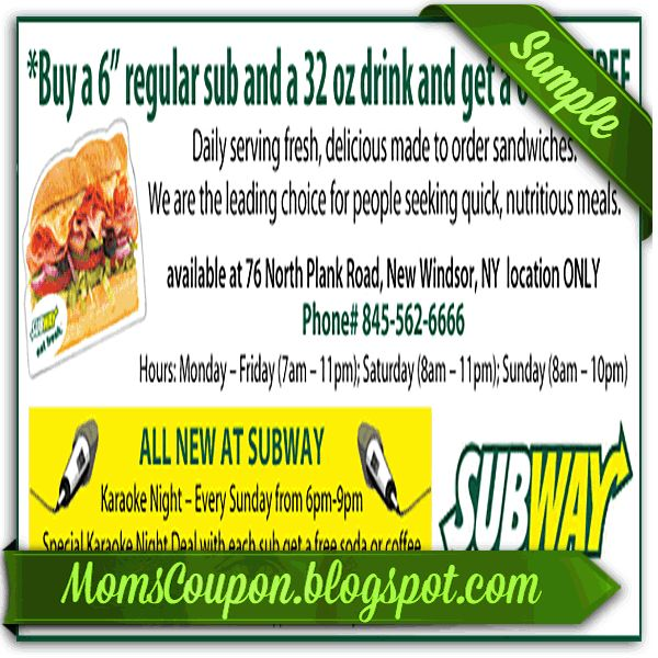 free printable Subway coupons 20% February 2015