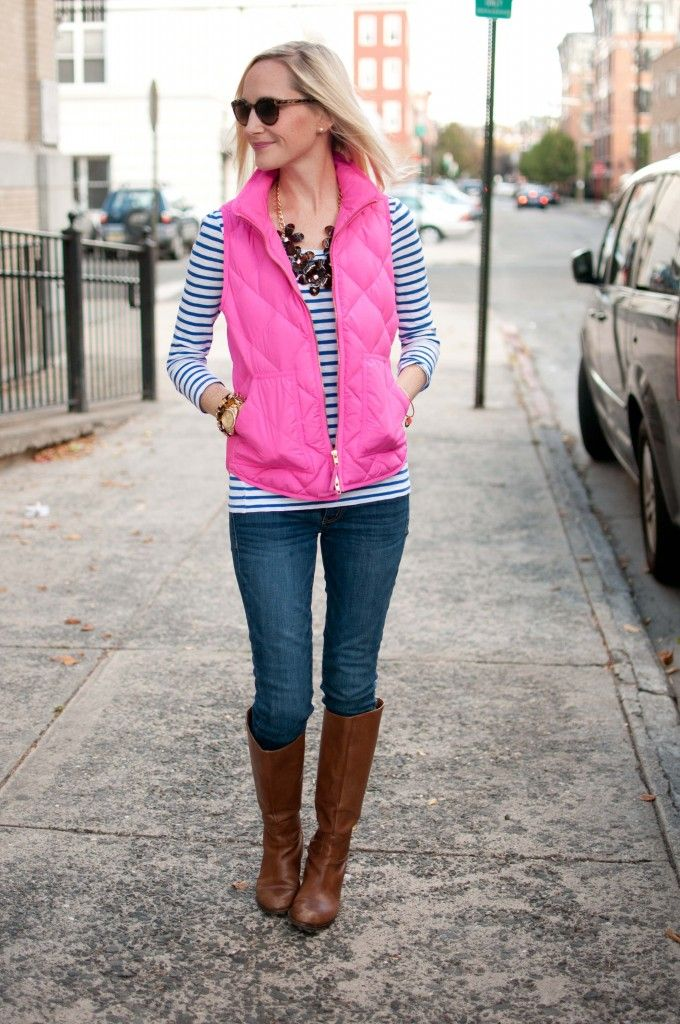 Going Casual: Hot Pink Vests, Striped Shirts and Tortoise Statement Necklaces | Kelly in the City