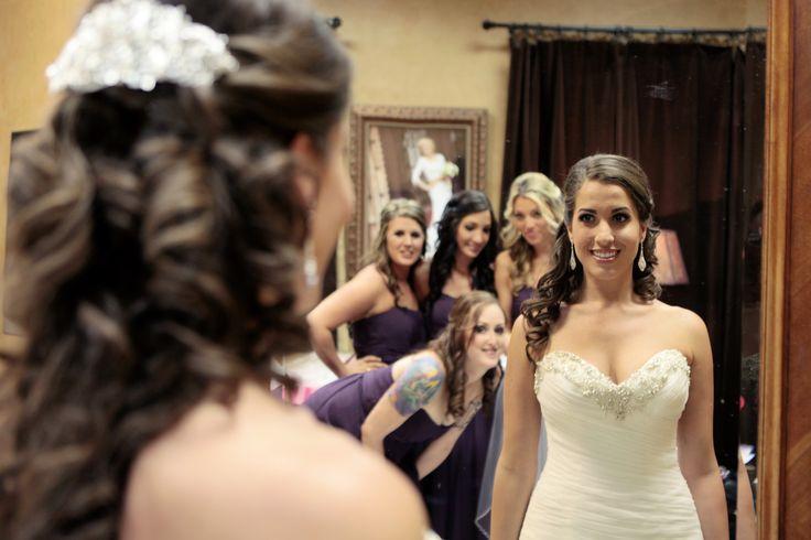 Purple bridesmaids, mirror look at bride