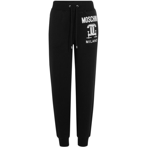 Moschino Jersey Sweatpants ($275) ❤ liked on Polyvore featuring activewear, activewear pants, black, black sweat pants, cropped sweat pants, slim sweatpants, black sweatpants and sweat pants