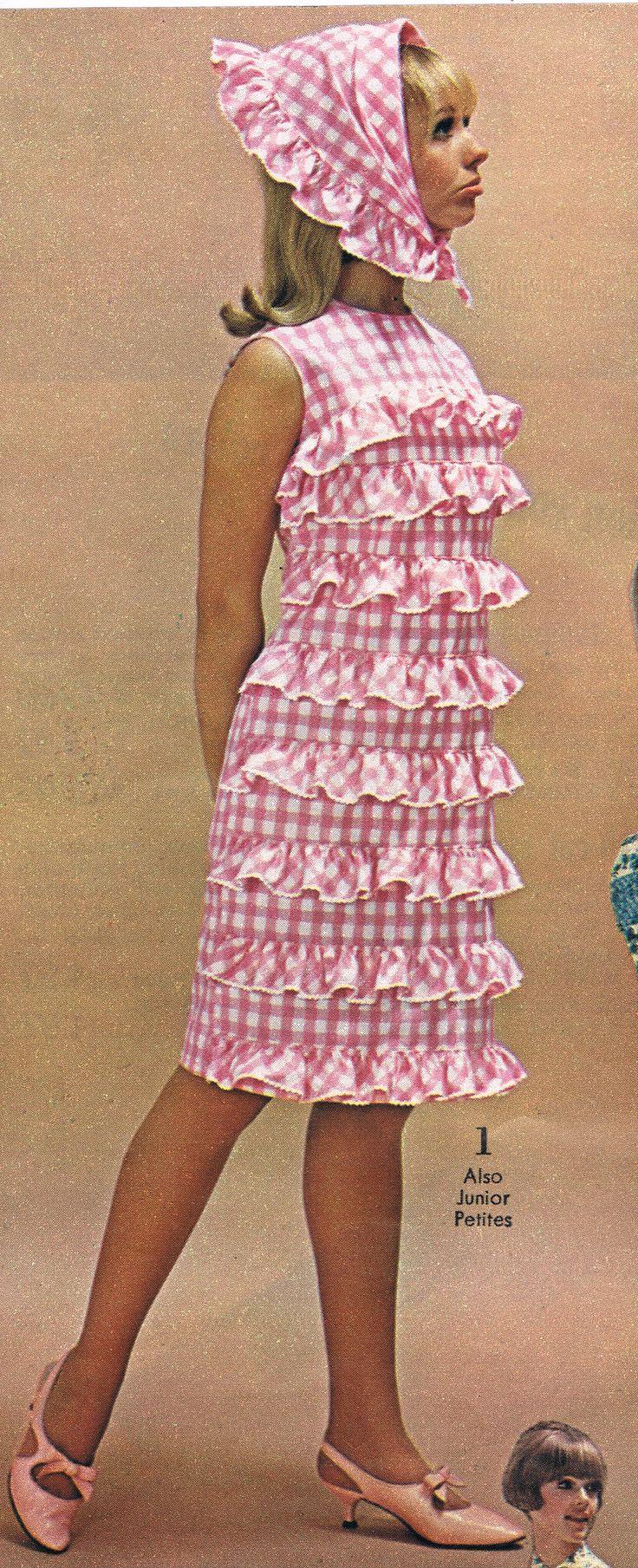 Spiegel catalog 60s checks plaid pink white ruffle dress scarf sheath shift model print ad