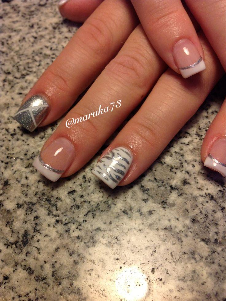 Zebra pattern on Essie Marshmallow polish. White on silver. Nail design by Marilin Rosa. Follow on instagram@maruka73 @Cynthia Lozada