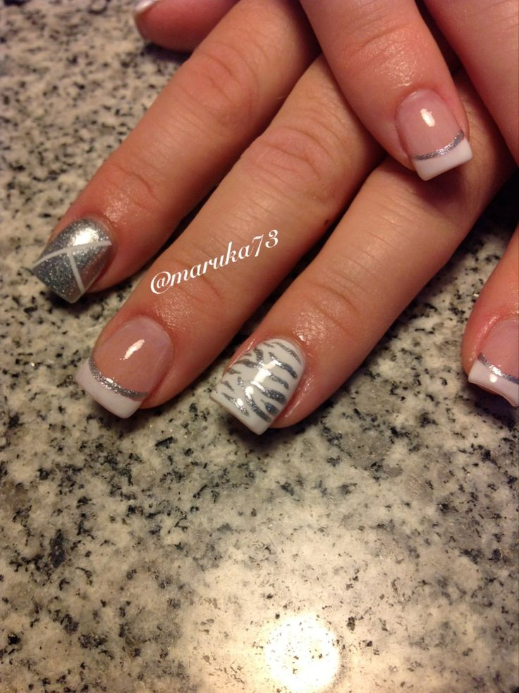 Zebra pattern on Essie Marshmallow polish. White on silver. Nail design by Marilin Rosa. Follow on instagram@maruka73 @Cynthia Lozada