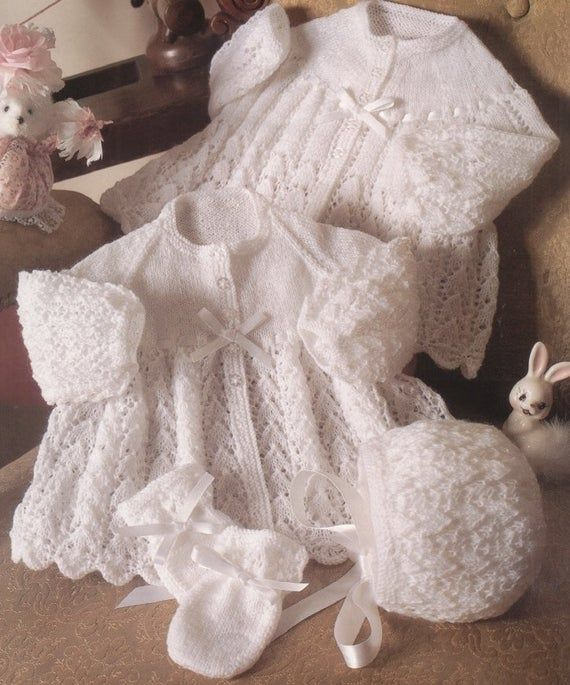 Knitting Pattern Pram Set 4-ply Coat Bonnet Mitts Shoes Copy