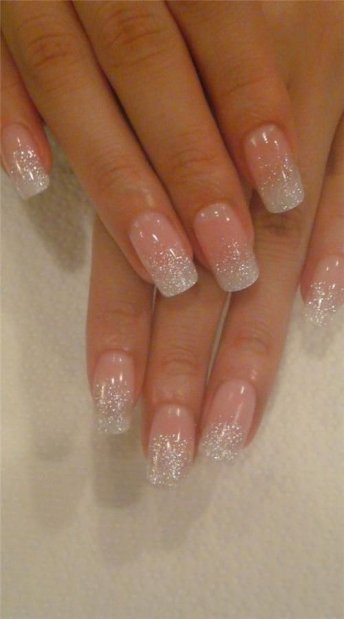 wedding manicure love the sparkles