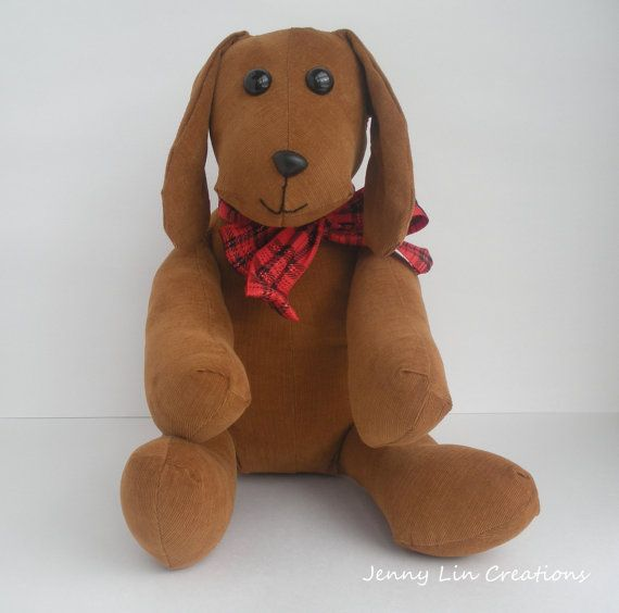 Toy Stuffed Dog Puppy Soft Toy Corduroy by JennyLinCreations #stuffedpuppy #puppy #stuffedtoy #christmaspresent #toyplush