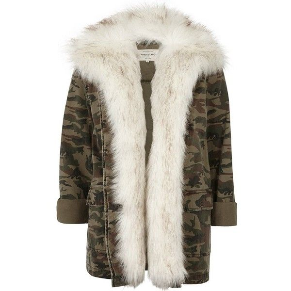 River Island Khaki camo print faux fur lined army jacket (383.590 COP) ❤ liked on Polyvore featuring outerwear, jackets, coats / jackets, khaki, women, camoflauge jacket, khaki jacket, military camo jacket, camouflage army jacket and army jacket