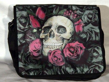 Koponya piros rózsákkal oldaltáska, válltáska - women's bag