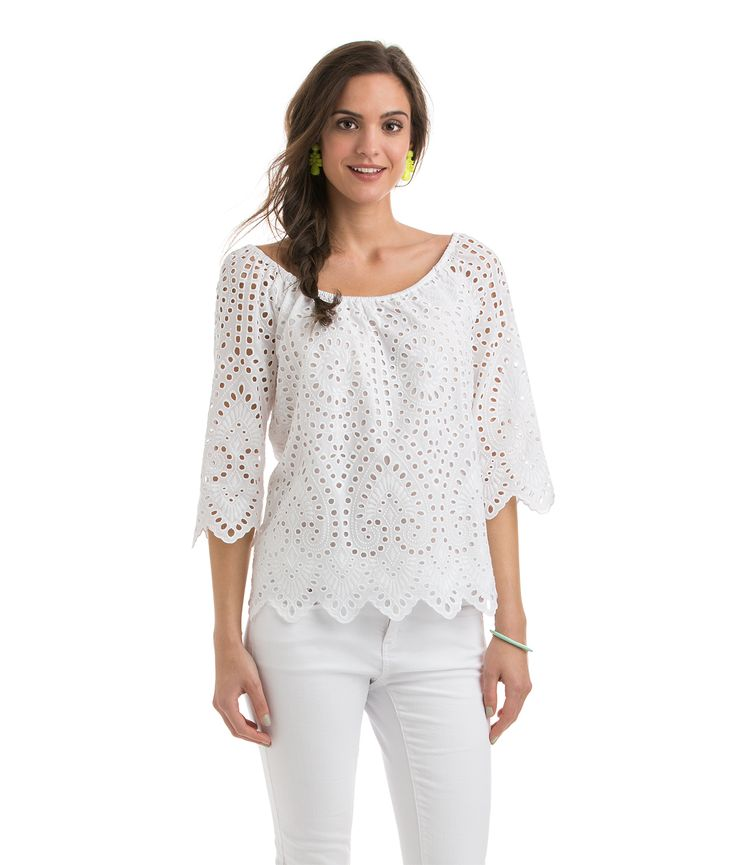 Eyelet Scalloped Top