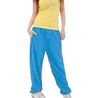 Allegra K Ladies Elastic Waist Seam Pocket Leisure Trousers Pants Blue S Allegra K. $8.59