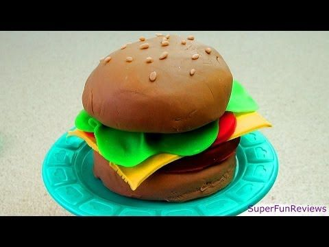 How to make a Play-Doh Burger -- Make a Fabulous Burger w Meat Cheese Tomato Lettuce & Sesame Seeds
