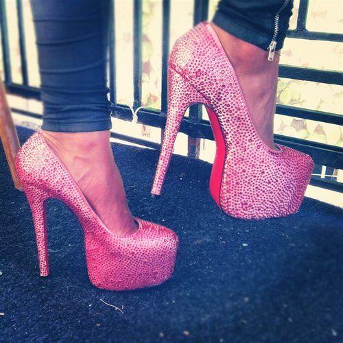 pretty pink sparkly heels