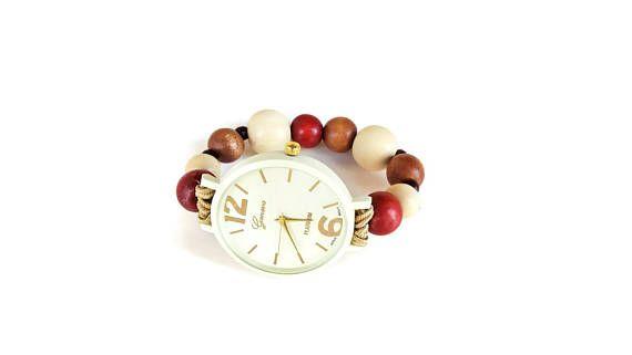 Wooden watch  Natural wood watch women  Wood pearl bracelet