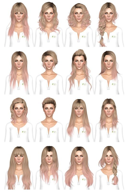 July Kapo Retextures Download Hair dump 3 by July Kapo, Long Haircut, Sims 3 hair Females YA / Teens / Elders