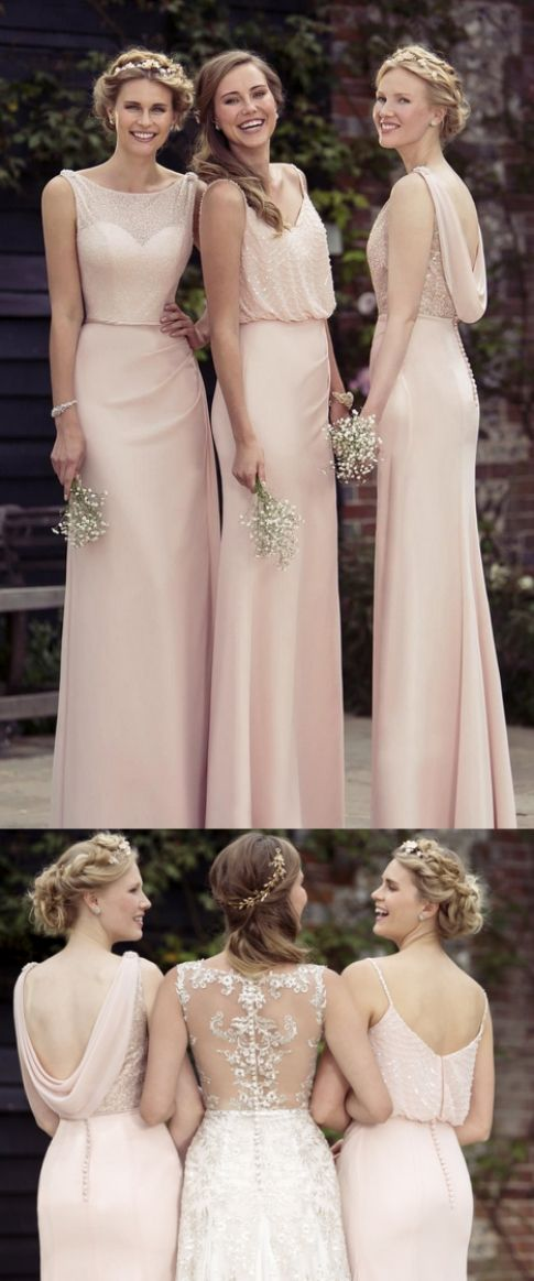 Cheap Comely Pink A-line/Princess Prom Dresses, Long Pink Prom Dresses, Sexy Chiffon A-Line 2017 Cheap Pink Bridesmaid Dresses,Long Prom Dress