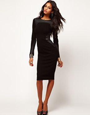 ASOS Bodycon Dress with PU Panels.  I need this dress and it is sold out!  It is gorgeous!