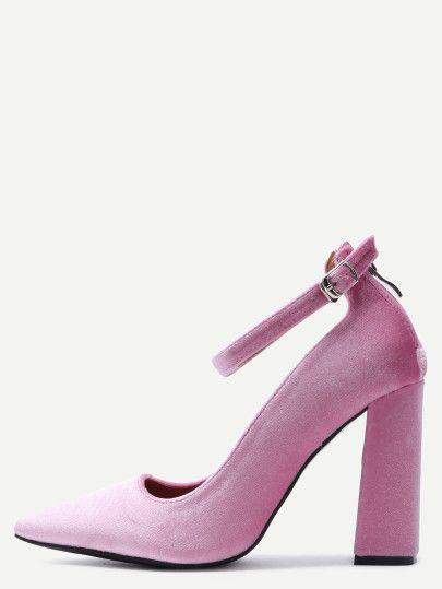 розовые бархатные туфли на высоких каблуках