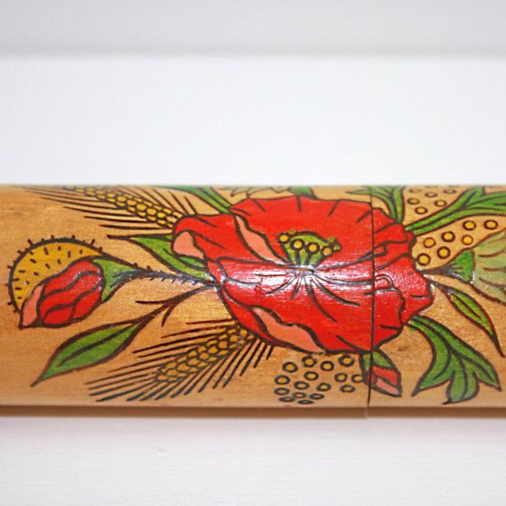 Wooden knitting needle case with poppy design  vintage