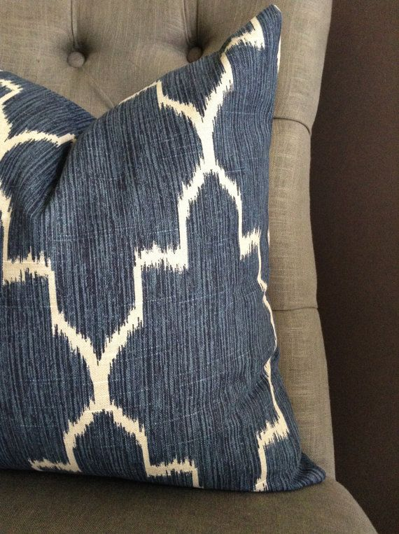 Pillow Cover Navy Blue Ikat Pillow Cover PORTER by StudioPillows