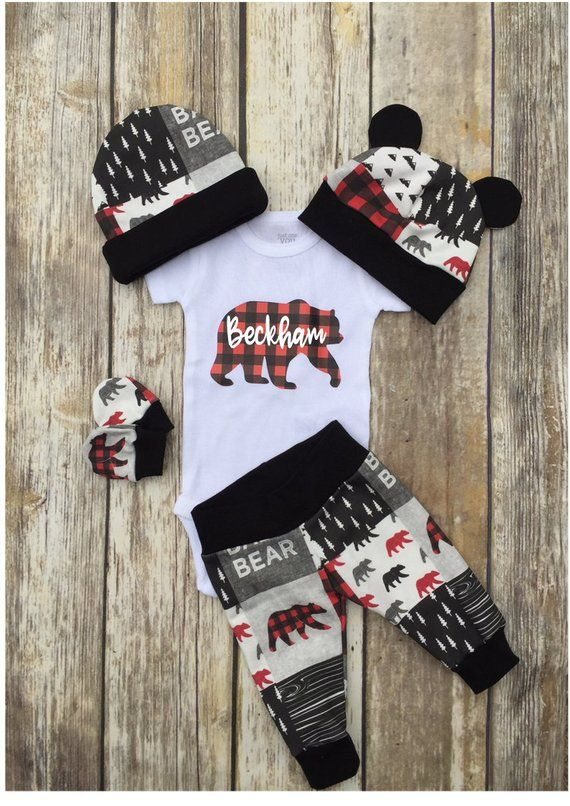 f92cd646d Boys Coming Home Outfit, Buffalo plaid Baby Bear Personalized Baby Boy  Outfit, Take Home Newborn Out
