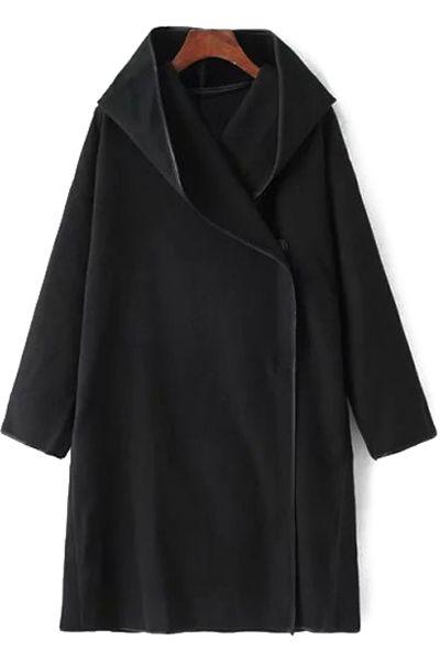 Print Back Hooded Long Sleeve Coat