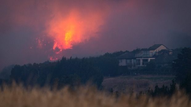 View of the Port Hills fire from Westmorland on Wednesday evening.