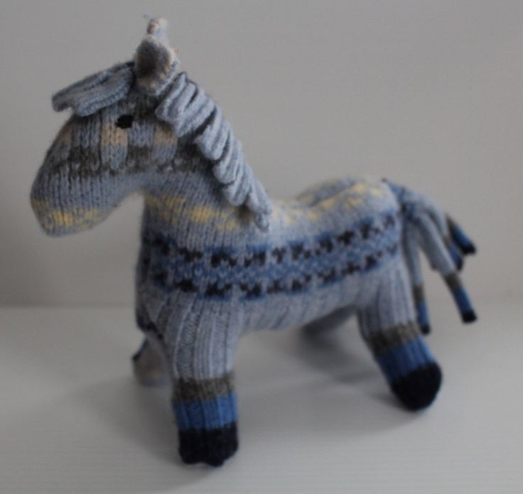 Stuffed horse: blue repurposed wool sweater, plush horse, waldorf horse, horse toy, soft-sculpture horse by Woolopoly on Etsy