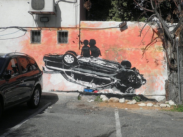 Sunset with a police car by dede http://restreet.altervista.org/la-street-art-dell-israeliano-dede/