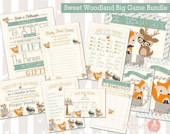 Sweet Woodland Baby Shower Big Bundle Games   Forest Friends Shower   Woodland Animals Don't Say Baby, Who's My Mama, Wishes, and More!