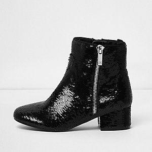 Girls black sequin embellished ankle boots