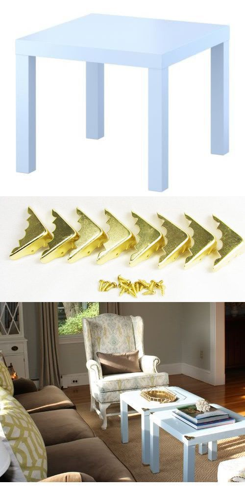 These brass corners ($5 for a set of 8 from Amazon) will jazz up a LACK table ($10). | 37 Cheap And Easy Ways To Make Your IKEA Stuff Look Expensive