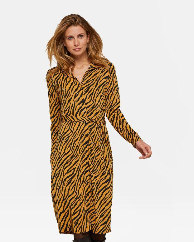 c505a1b900a1da Dames tijgerdessin button down jurk Oranje