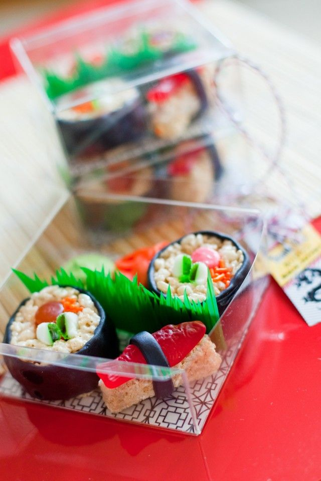 Candy sushi. I have made these before but, I like the added containers and separation grass.